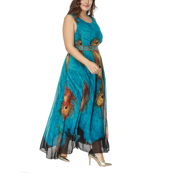 Woman Long Chiffon Plus Size Spring Summer Fashion Dress