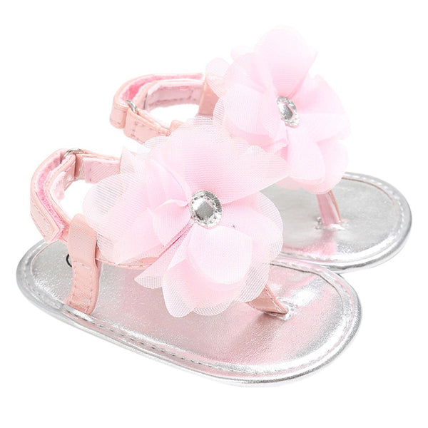 Baby Summer Flower Shoes Newborn Girls Princess Sandals Shoes Moccasins Pink&Yellow Kids Slippers Prewalkers For 0-24M Kid Girls