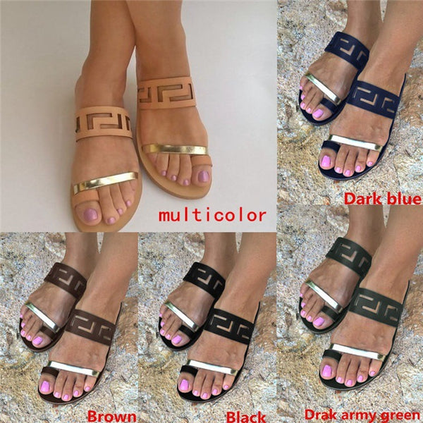 413ded6ee Fashion Summer Shoes Women Casual Sandals Gladiator Flat with Women Sandals  Metal Decoration