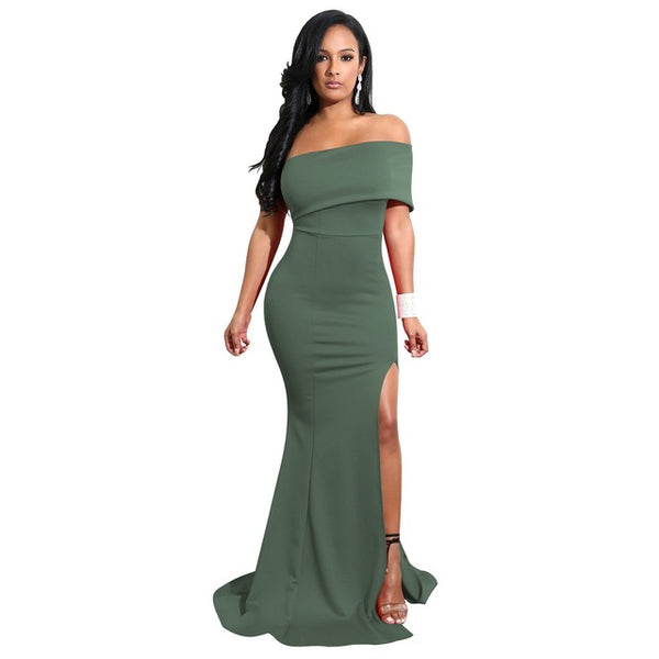 One Shoulder Irregular Dress Solid Elegant Party Sexy Dress
