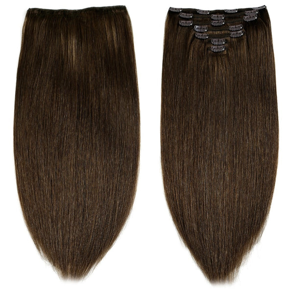 "Remy Clip In On Human Hair Extensions Natural Straight 20"" 24"" 7pcs 16 Clips 8 Colors Double Drawn Clip Ins"