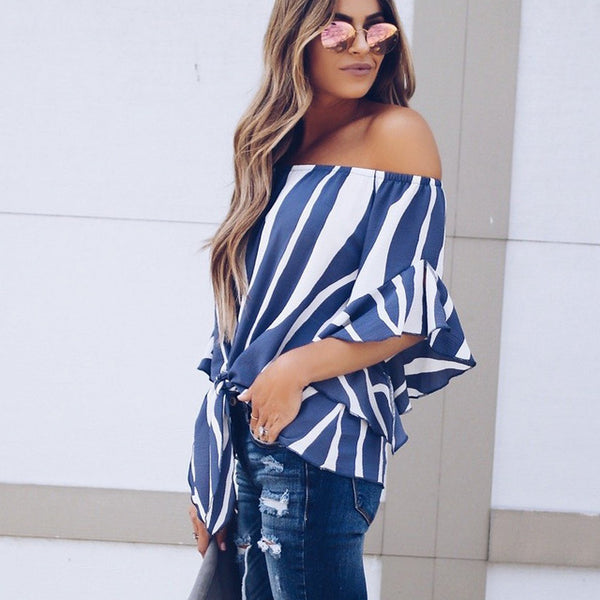 Women Striped Off Shoulder Blouse Shirts Chiffon Sexy Waist Tie Flare Sleeve Tops