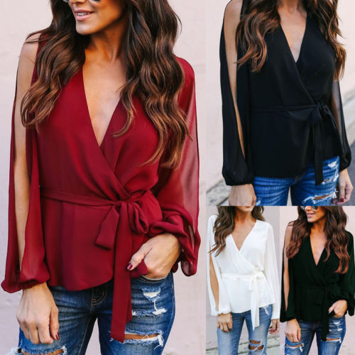 Fashion Ladies Casual Tops Shirt Women Loose V Neck Lace Up Blouses Solid Long Sleeve Blouse