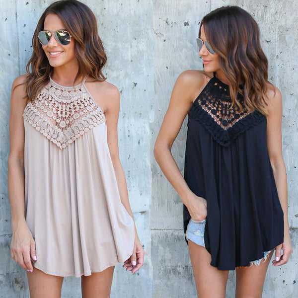 Summer Lace Vest Top Sleeveless Blouse Casual Hollow Out Tops Shirt