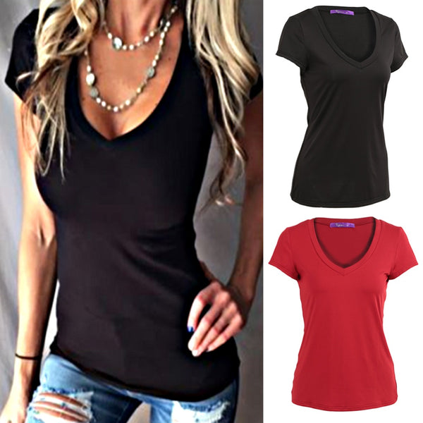 Women Basic Tops Deep V-Neck T-Shirt Short Sleeve Tees Shirt Tunic