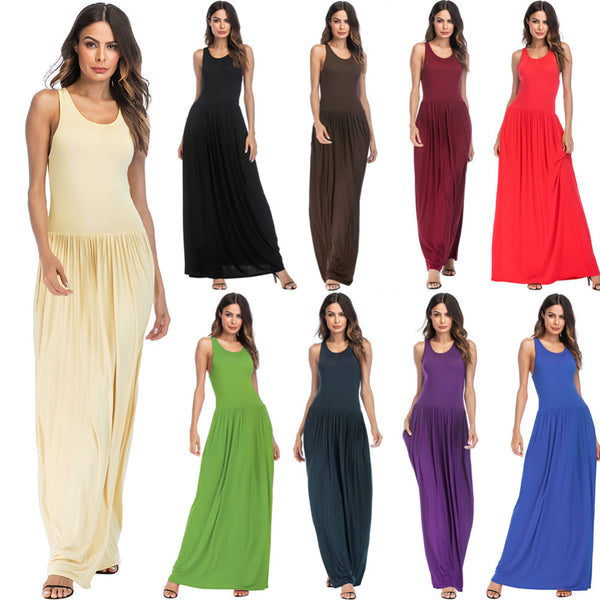 Women Maxi Dress Solid Round Neck Sleeveless Racer Back High Waist Casual Summer Dresses Pleated Pockets Gown Sundress