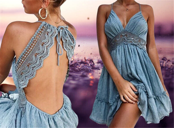 Sexy Crochet Lace Backless V Neck Summer Dress Women Strap Sleeveless Hollow Out Short Dress Casual Beach Party Dresses