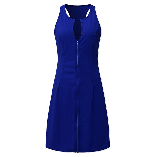 Summer Women Sexy Dress Sleeveless V Neck Zipper Lady Party Work Casual Dresses Plus Size M-6XL