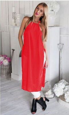 Sexy New Summer Autumn Fashion Sexy Sleeveless solid Casual Loose Long Cami Shirt Split Dress