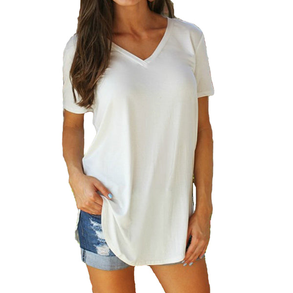 Solid V Neck Short Sleeve Casual Tee Shirt Tops