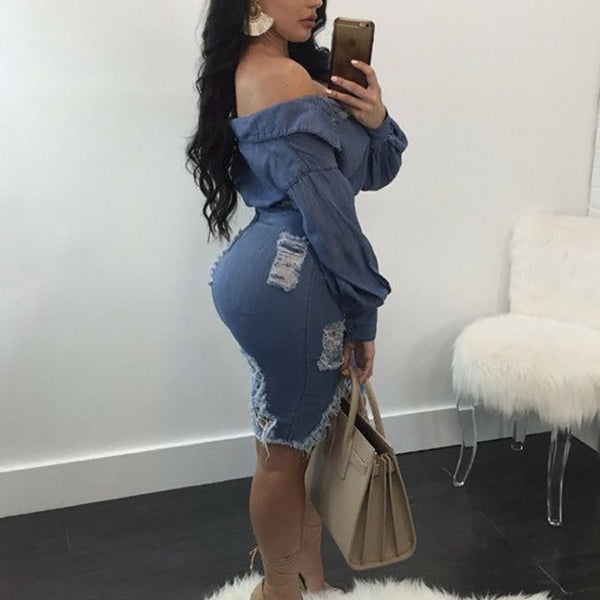 Women Sexy Off Shoulder Slinky Long Sleeve Distressed Denim Two-Piece Dress