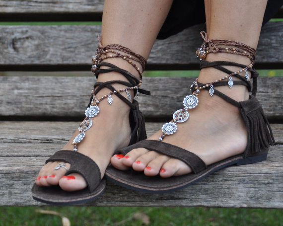 Women Fashion Tassel Lace Up Summer Sandal Shoes