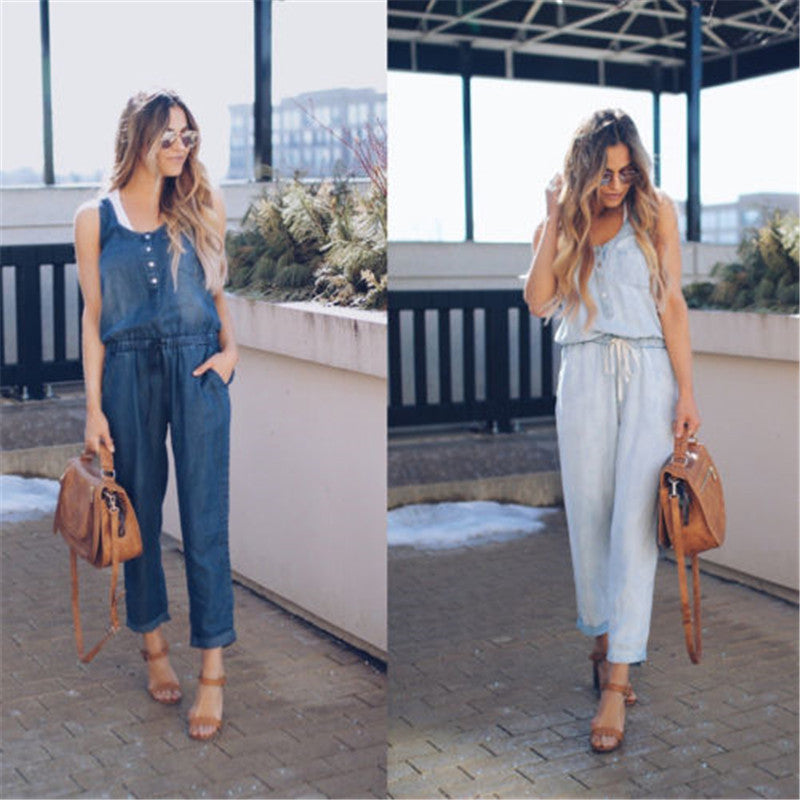 Sleeveless Trousers Jeans Fashion Jumpsuits