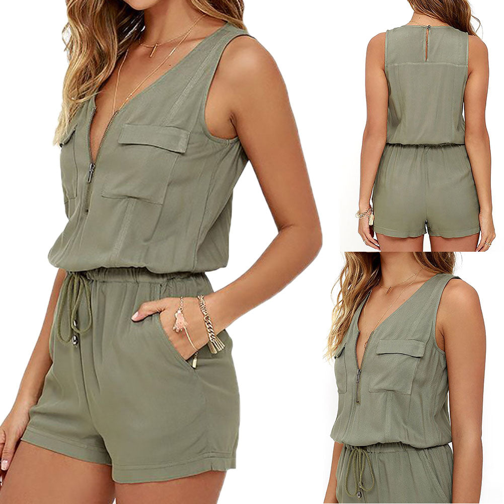 V-neck Zipper Pockets Playsuit Fashion Beach Overalls New Sexy Sleeveless Bodysuit Women Jumpsuit Shorts Romper