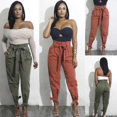 Women Chiffon High Waist Harem Pants Bow Tie Drawstring Sweet Elastic Waist Pockets Casual Trousers