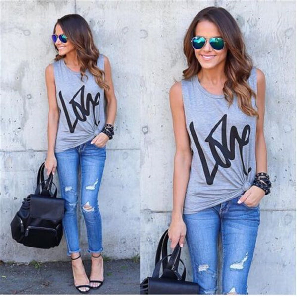 Women Shirt Sleeveless Solid Casual Tank Tops