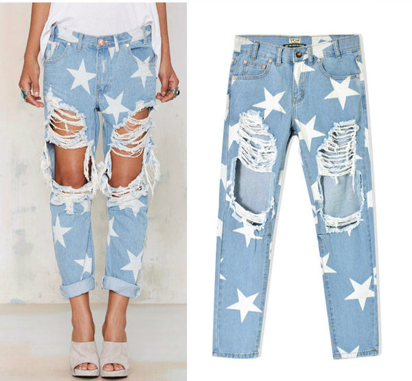 Women Ripped Hole Vintage Star Prints Boyfriend Jeans