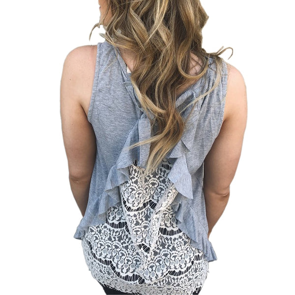 Women Sexy Sleeveless Lace Shirts