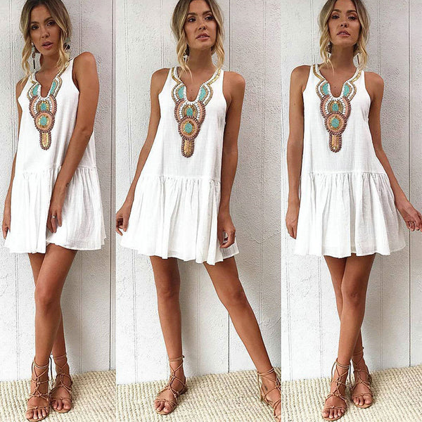 Casual V Neck Streetwear Back Button Boho Tunic Print Vintage Summer Dress Women Sexy Sleeveless Womens Beach Dresses