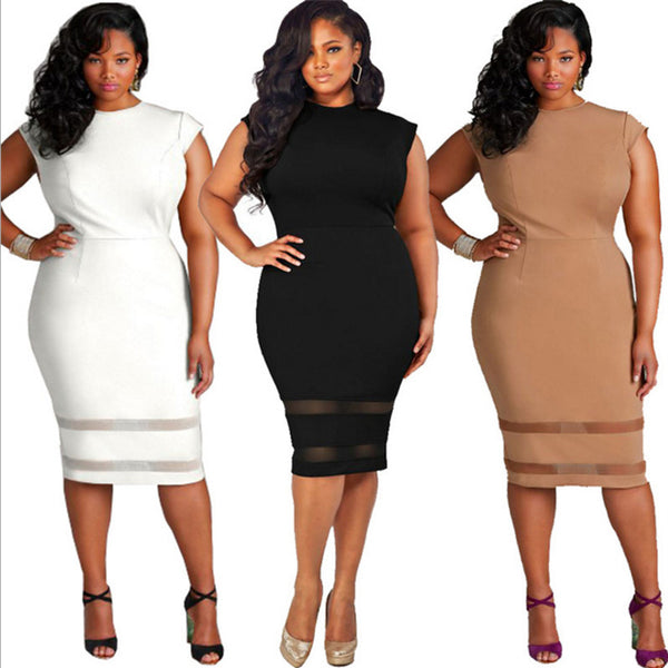 Plus Size Women Clothing Slim Office Lady Elegant Bodycon Dress