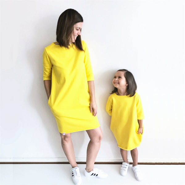 Mother Daughter Matching Dresses Summer Girl Dress Half Sleeve Loose Solid Clothes Outfit