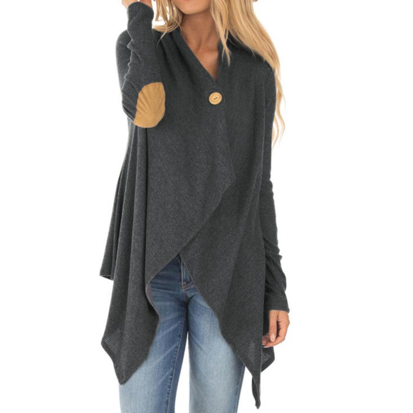 Causal Long Sleeve Patchwork Irregular Open Front Long  Cardigan
