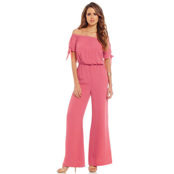 Loose Sexy Solid Chiffon Full Length Jumpsuit