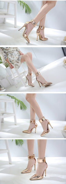 Champagne Gladiator Women Pumps Fashion Zipper Pointed Toe High Heels Lady Thin Heels Sandals