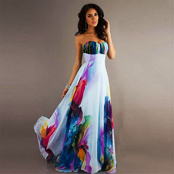 Bohemian Summer Sexy Dresses Elegant Women Club Sleeveless Strapless Off Shoulder High Waist Long Floral Dresses