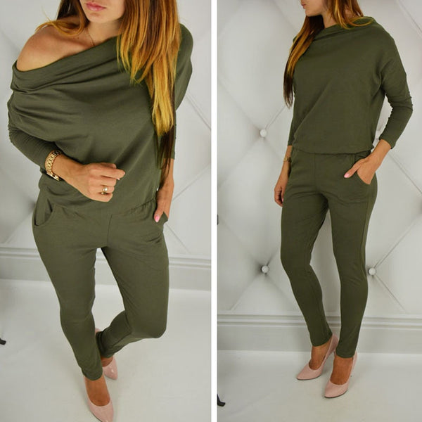 Women Long Sleeve Off Shoulder Jumpsuit