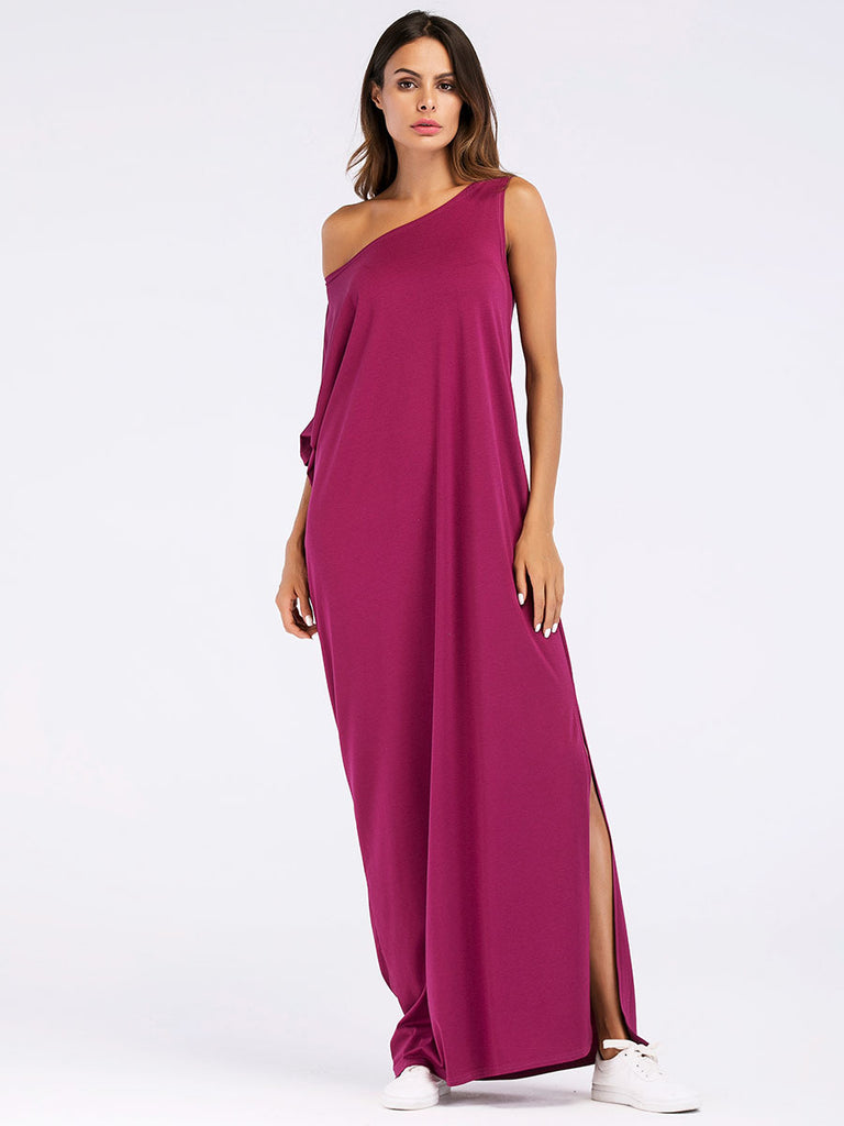 Asymmetrical Oversized Dress Summer Sexy Split Maxi Women Casual Dress