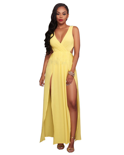 Sexy V Neck Sleeveless Dress Yellow Slits Dress