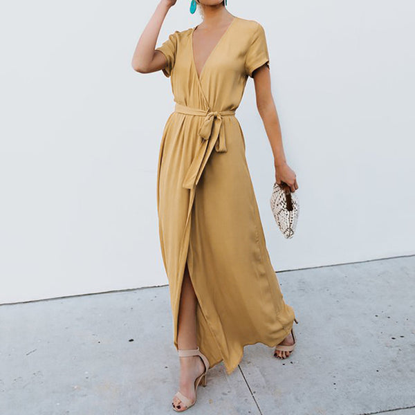 Sexy Deep V-neck Casual Maxi Lady Party Evening Long Wrap Sun Dress