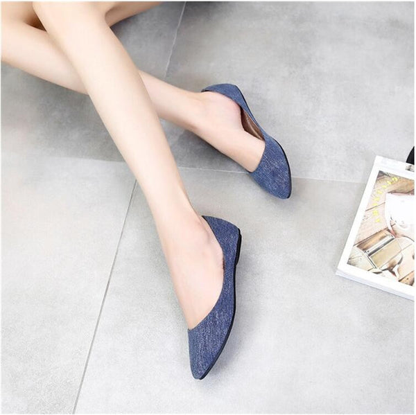 Soft Denim Pointy Toe Ballerina Ballet Flat Slip On Shoes