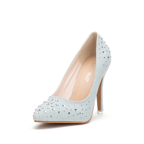 Ladies Rhinestones Blue Shoes Denim Slip-On Thin Heel Office Party Pumps Sexy Pointed Toe High Heels