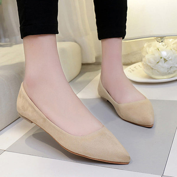 Fashion Women Pointed Toe Women Soft Suede Casual Comfortable Spring Summer Flats Slip-on Ladies Loafer Shoe