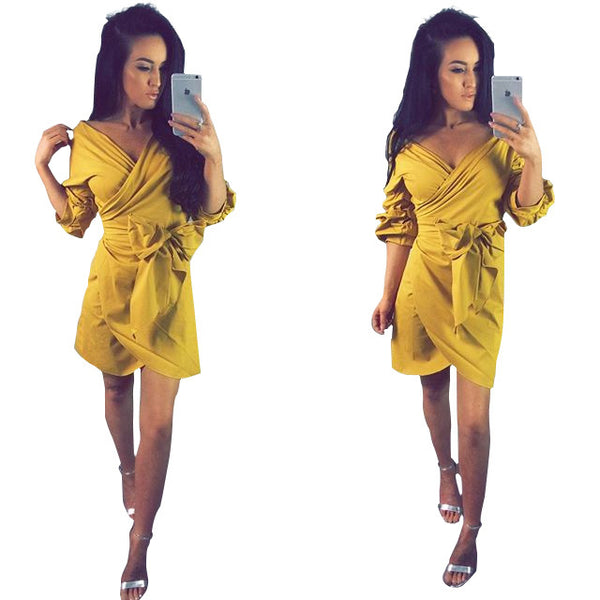 Woman Long Flare Sleeve Bodycon Sexy Slim Mini Dress
