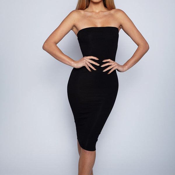 The Sexy Black Strapless Elastic Soft  Breathable Dress