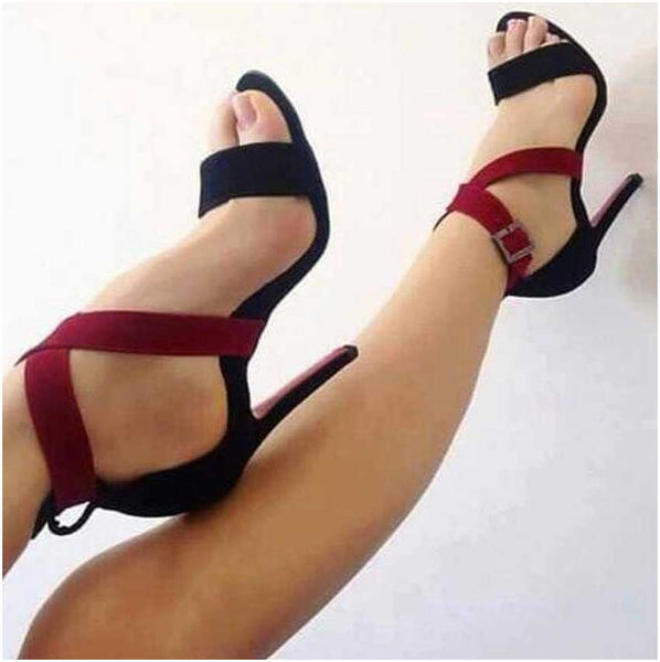 Gladiator Cover Heel Ankle Strap Buckle Women Shoes