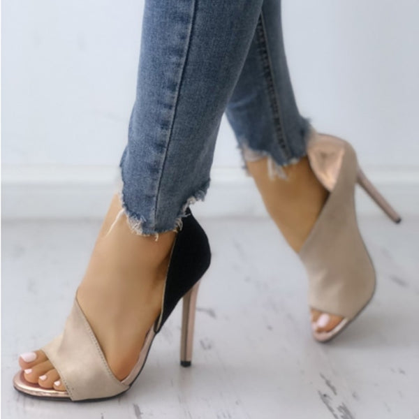 Fashion Color Block Peep Toe High-heeled Pumps Stiletto High Heels Sandals