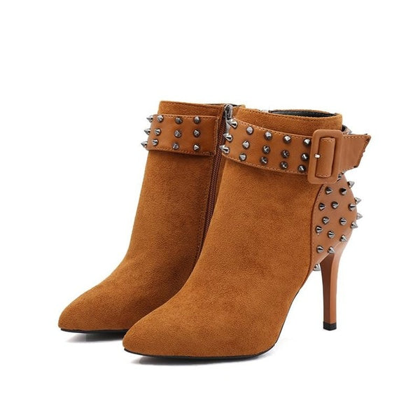 Autumn Winter Women Rivet High Heel Fashion Sexy Pointed Toe Ankle Boots
