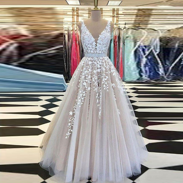 Formal Gowns Evening Dresses Elegant Long Appliques Sash Evening Wedding Dress