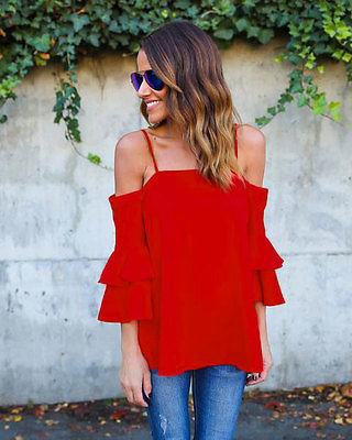 Women Solid Strapless Off Shoulder Loose Casual Blouse