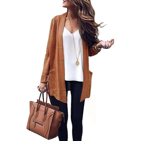 Autumn Trench New Fashion Formal Woman Classic Open Stitch Trench Winter Keep Warm Casual Slim Sweater Coat