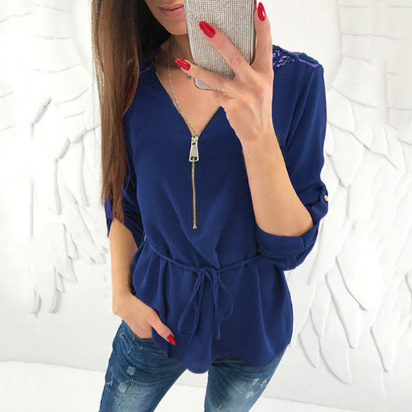 Chiffon Women Long Sleeve Blouse Women Shirts Zipper V-neck Ladies Tops