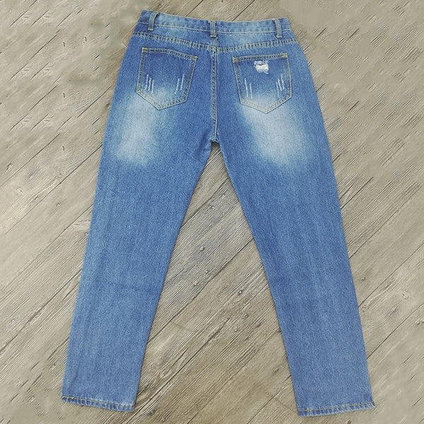 Ladies Cotton Denim Boyfriend Ripped Pencil Skinny Jeans