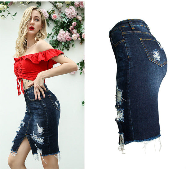 Women's Ripped Body-con Denim Pencil Jean Skirt