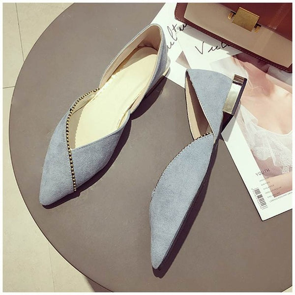 Women Ballet Slip On Loafers Pointed Toe Casual Flat Shoes