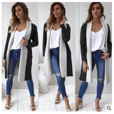 Women Patchwork Long Trench Sweater Cardigan Coat