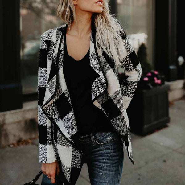 Women Plaid Lapel Wool Blend Autumn Winter Long Sleeve Irregular Casual Cardigan Overcoat Outwear Tops Jacket Coat